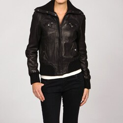 MICHAEL Michael Kors Women's Black Leather Bomber Jacket