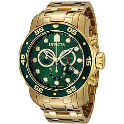 Invicta Men's Pro Diver Green Dial 18k Gold Chronograph Watch