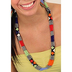 Long Zulu Multi-strand Bead Rope Necklace (South Africa)