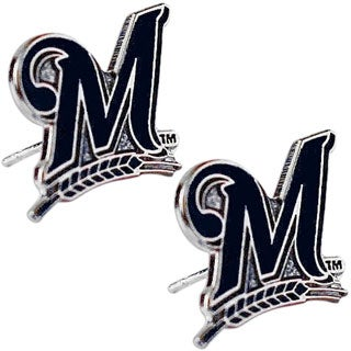 Milwaukee Brewers 'M' Post Stud Logo MLB Charm Earring Set