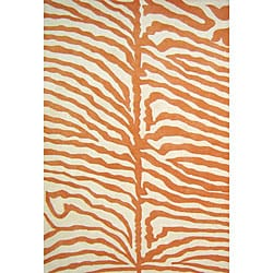 Alliyah Handmade Orange New Zealand Blend Wool Rug  (5' x 8')