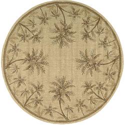 Nourison Summerfield Beige Floral Rug (5'6 x 5'6) Round