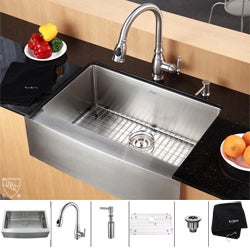 Kraus Stainless Steel Farmhouse Kitchen Sink/ Faucet/ Soap Dispenser