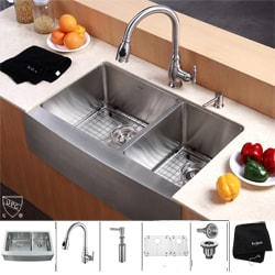 Kraus Stainless-Steel Farmhouse Kitchen Sink/Pullout Faucet/Soap Dispenser