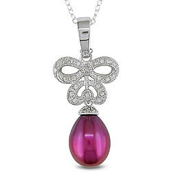 Silver Cranberry Pearl and 1/7ct TDW Diamond Necklace (9.5-10 mm)