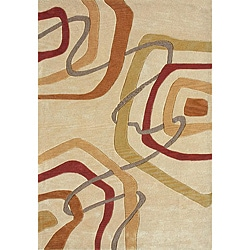 Hand-tufted Gold Abstract Rug (7'10 x 11')