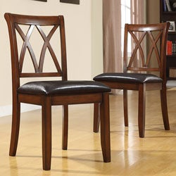 Havana Double Cross Back Mahogany Faux Leather Chairs (Set of 2).