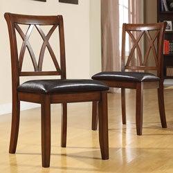Havana Double Cross Back Mahogany Faux Leather Chairs Set