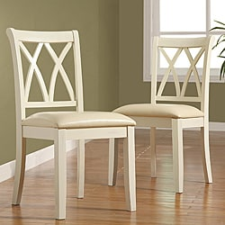 Havana Double-cross Back Antique White Faux Leather Chairs (Set of 2).