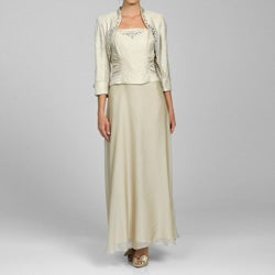 Ignite Women's Mother-of-the-Bride Shimmer Dress and Jacket Set