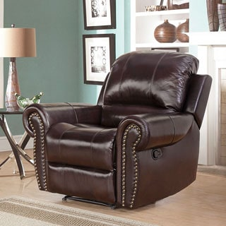 Abbyson Living Broadway Premium Top-grain Leather Reclining Armchair