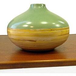 Handmade Green And Bamboo Accent Round Vase Vietnam