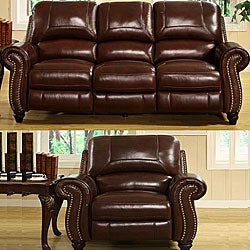 ABBYSON LIVING Madison Premium Grade Leather Pushback Reclining Sofa And  Armchair   Overstock .