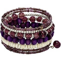 Metal/ Glass/ Bone Lavender Spiral Bracelet (India)