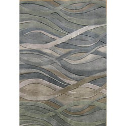 Hand-tufted Metro Classic Grey/Green Wool Rug (8' x 10')