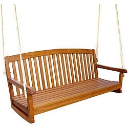 Royal Tahiti Yellow Balau Hardwood Curved-back Three-seater Swing