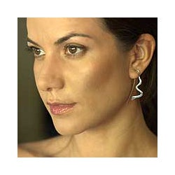 Sterling Silver 'Olympic River' Dangle Earrings (Brazil)
