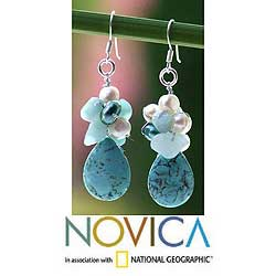 Silver &#39;Bluebells&#39; Pearl and Amazonite Cluster Earrings (Thailand)