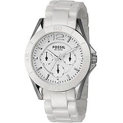 Fossil CE1002 Women's White Ceramic Multi-function Chrono Watch