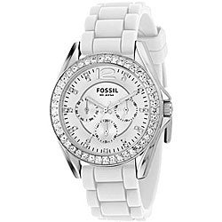 fossil es2344 women 39 s 39 riley 39 white multi function chrono. Black Bedroom Furniture Sets. Home Design Ideas