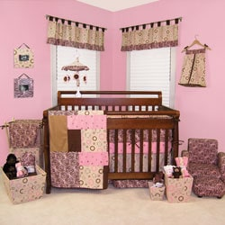 Sweet Safari Pink 6-piece Crib Bedding Set