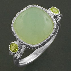 Sterling Silver Chrysophase and Peridot Ring (India)