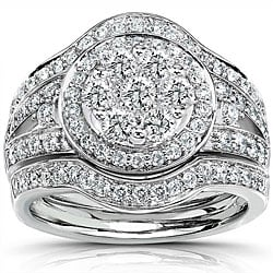 14k White Gold 1 1/8ct TDW Diamond Halo Bridal Ring Set