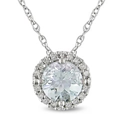 10k White Gold Aquamarine and 1/10 ct TDW Diamond Necklace (H-I, I2-I3)