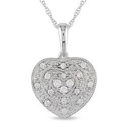 10k White Gold 1/8ct TDW Diamond Heart Necklace (H-I, I2-I3)
