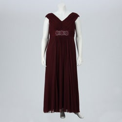 Karen Miller Women's Plus Size Cap Sleeve Empire Waist Shirred Goddess Dress