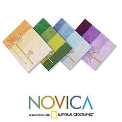 Set of 4 Natural Fiber 'Vibrant Notes' Notebooks (Thailand)