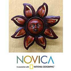 Iron 'Floral Sun' Wall Sculpture (Mexico)