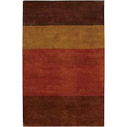 Hand-tufted Mandara Brown Stripe Wool Rug (9' x 13')