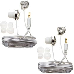 Nemo Digital White Twisted Heart Earbud Headphones (Case of 2)