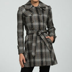 DKNY Women's Petite Plaid Wool Trench Coat
