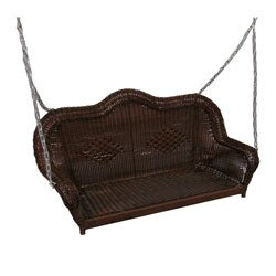 Resin Wicker Hanging Loveseat Swing