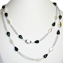 Sterling Silver Pearl and Black Agate Necklace (9-10 mm)