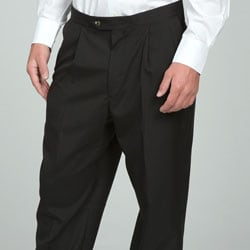 Sansabelt Men's Black Pleated Wool Trousers