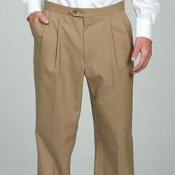 Sansabelt Men's Camel Pleated Wool Trousers