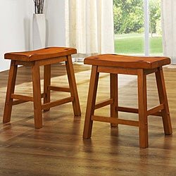 ETHAN HOME Salvador Saddle Back 18-inch Oak Stools (Set of 2)