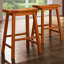 ETHAN HOME Salvador Saddle Back 24-inch Oak Stools (Set of 2)