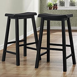 ETHAN HOME Salvador Saddle Back 29-inch Stool in Black Sand-Through (Set of 2)