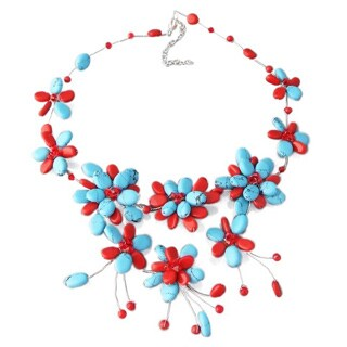 Silver Turquoise and Coral Cluster Necklace (Thailand)