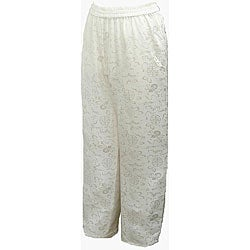 Women's White Silk Pull-on Pants (Nepal)