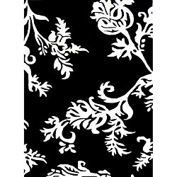Hand-tufted Quill Feather Black Wool Rug (4' x 6')