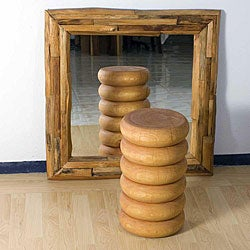 Mango Wood Stacked Rings Stool (Thailand)