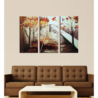 'A Walk in the Rain' Hand-painted Canvas Art Set