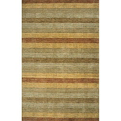 Hand-loomed Multi-color Stripes Wool Rug (8' x 11')