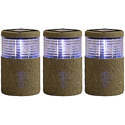 Tricod Cyclinder Stone Fence Post Light (Set of 3)