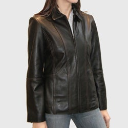 IZOD Women's New Zealand Lamb Leather Scuba Jacket